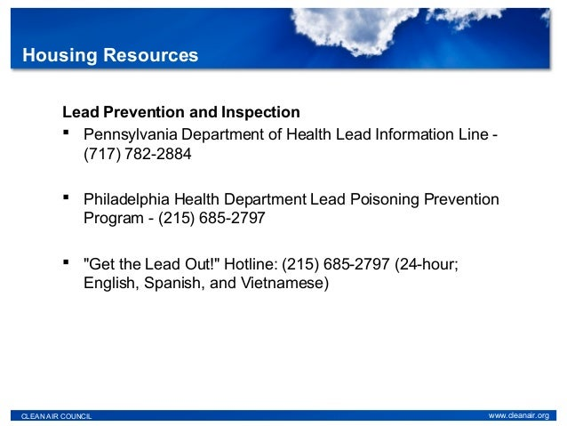 Lead Prevention and Inspection  Pennsylvania Department of Health Lead Information Line - (717) 782-2884  Philadelphia H...