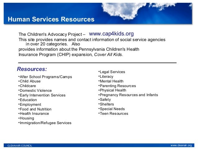 The Children's Advocacy Project – This site provides names and contact information of social service agencies in over 20 c...