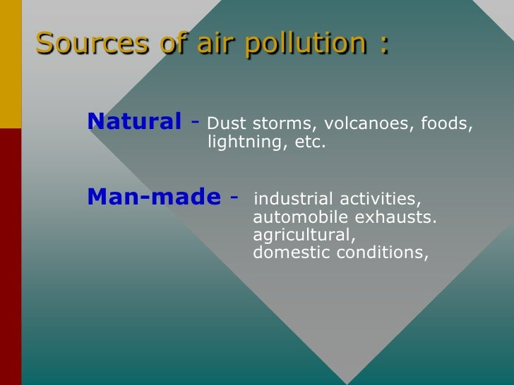 Sources of air pollution :     Natural - Dust storms, volcanoes, foods,                lightning, etc.      Man-made -    ...
