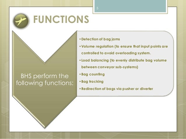 FUNCTIONS  BHS perform the  following functions:  5  •Detection of bag jams  •Volume regulation (to ensure that input poin...