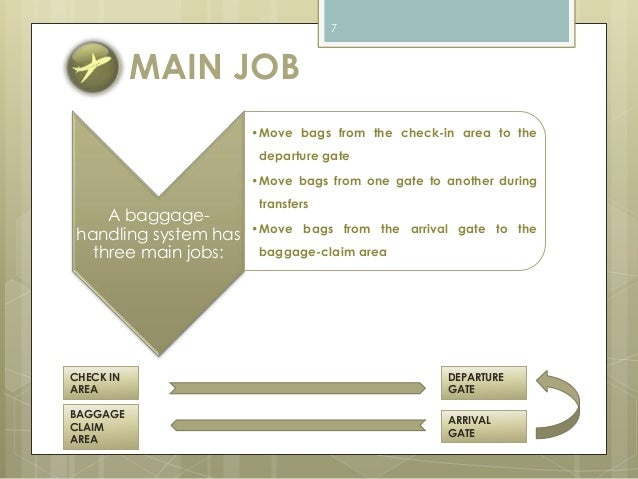 MAIN JOB  A baggage-handling  system has  three main jobs:  7  •Move bags from the check-in area to the  departure gate  •...