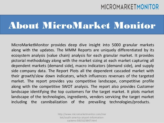 About MicroMarket Monitor MicroMarketMonitor provides deep dive insight into 5000 granular markets along with the updates....