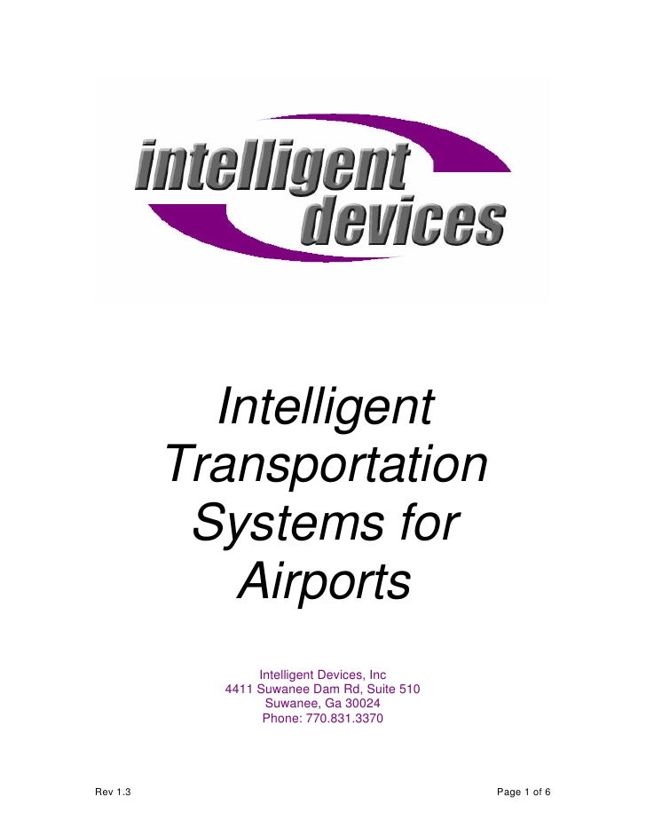 Intelligent           Transportation            Systems for              Airports                  Intelligent Devices, In...