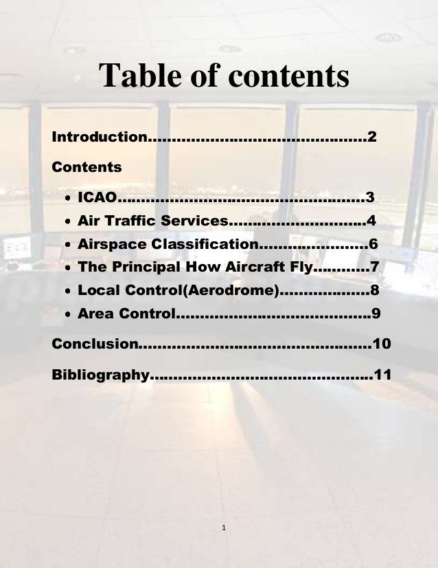 Table of contents Introduction……………………………………….2 Contents ICAO…………………………………………….3 Air Traffic Services………………………..4 Airspace...