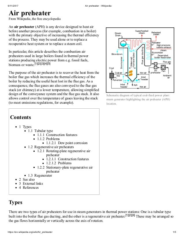 Air preheater and other aspects of power plant