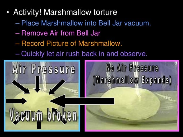 • Activity! Marshmallow torture – Place Marshmallow into Bell Jar vacuum. – Remove Air from Bell Jar – Record Picture of M...