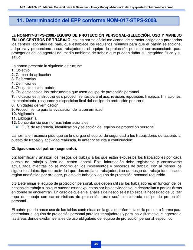 AIRSL-MAN-001. MANUAL GENERAL PARA LA SELECCIÓN, USO Y MANEJO DEL EQU… 975491f985