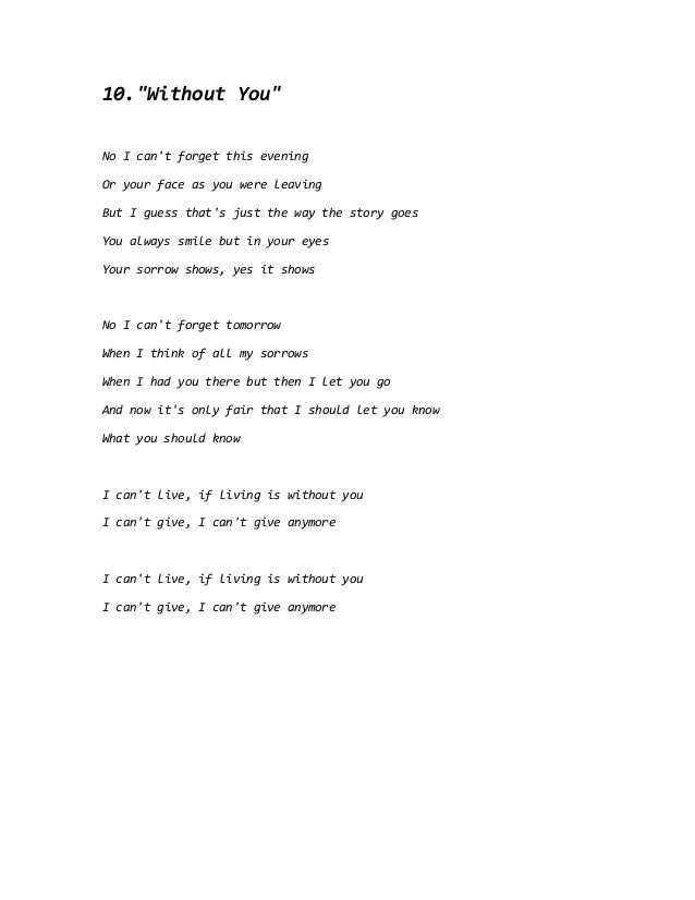 Love without you lyrics