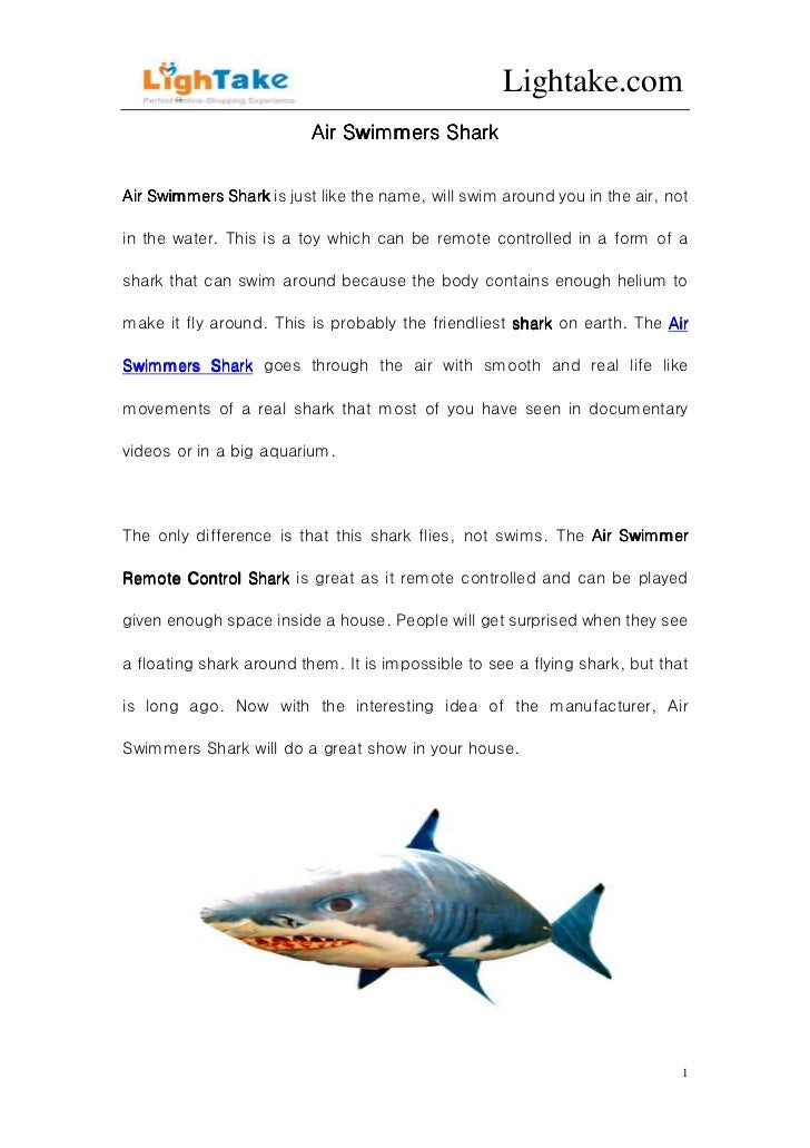 Lightake.com                          Air Swimmers SharkAir Swimmers Shark is just like the name, will swim around you in ...