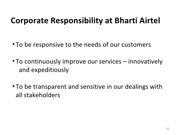 stakeholders of airtel Of their stakeholders, including shareholders and creditors for this  the  optical fibre business of bharti airtel includes both underground.