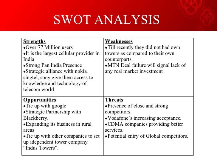 airtel swot analysis Airtel digital tv is evaluated in terms of its swot analysis, segmentation, targeting, positioning, competition analysis also covers its tagline/slogan and usp along with its sector.