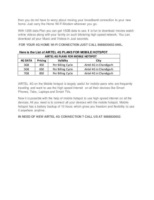 Airtel 4 g plans in chandigarh