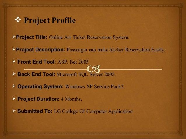 Air ticket reservation system presentation  Slide 2