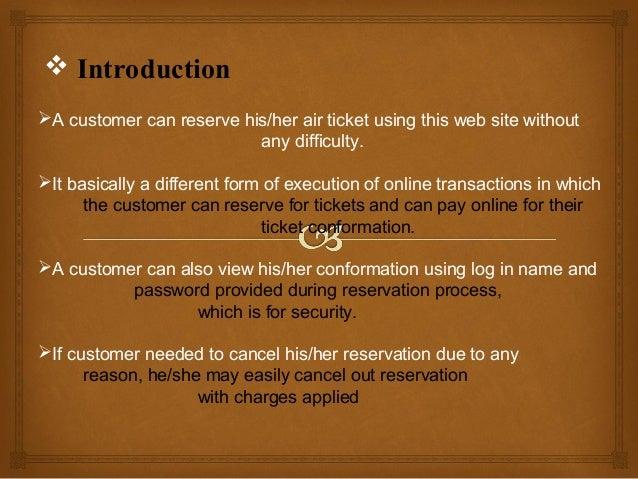 Air ticket reservation system presentation  Slide 3