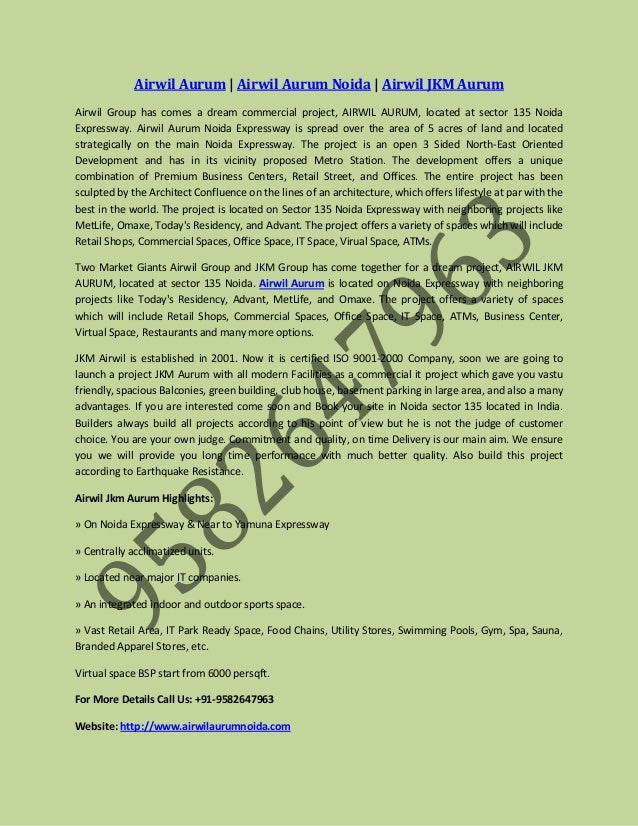 Airwil Aurum | Airwil Aurum Noida | Airwil JKM Aurum Airwil Group has comes a dream commercial project, AIRWIL AURUM, loca...