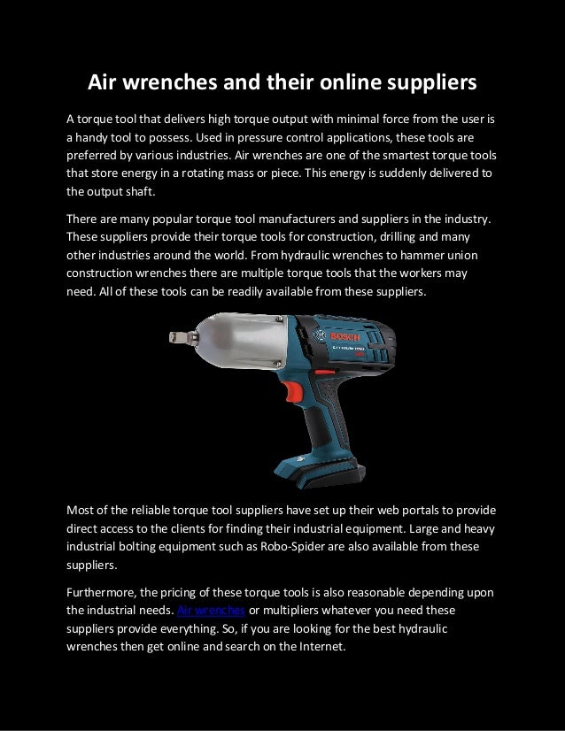Air Wrenches and their Online Suppliers