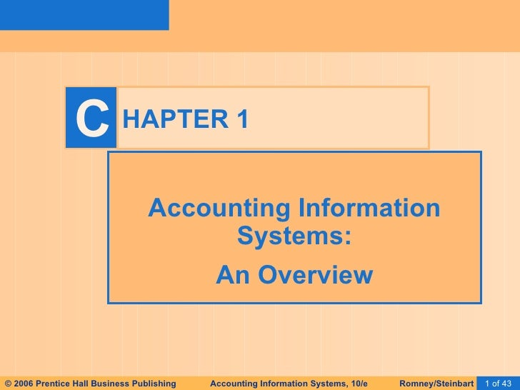 HAPTER 1 Accounting Information Systems: An Overview