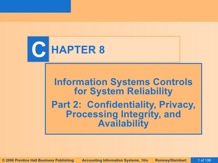 HAPTER 8 Information Systems Controls for System Reliability Part 2:  Confidentiality, Privacy, Processing Integrity, and ...