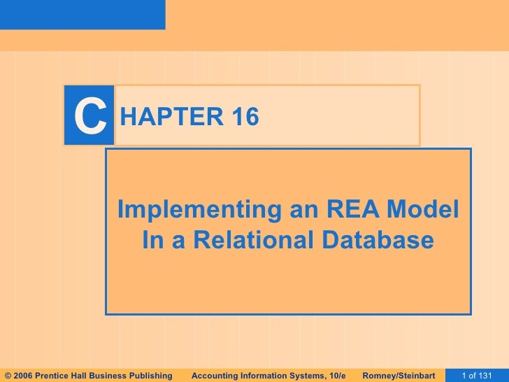 HAPTER 16 Implementing an REA Model In a Relational Database