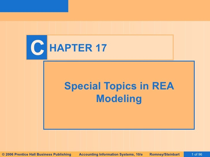 HAPTER 17 Special Topics in REA Modeling