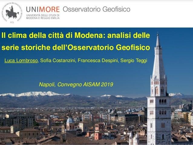 Il Clima Della Città Di Modena Analisi Delle Serie Storiche