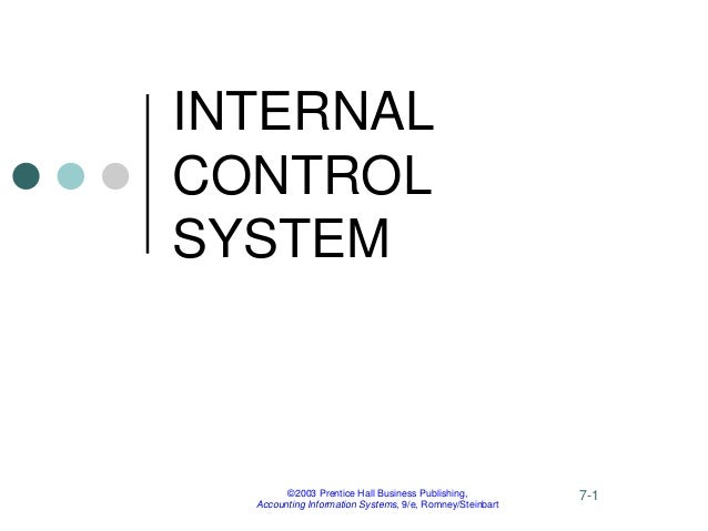 ©2003 Prentice Hall Business Publishing, Accounting Information Systems, 9/e, Romney/Steinbart 7-1 INTERNAL CONTROL SYSTEM