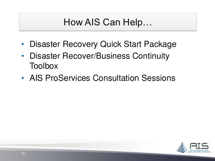 explain the links between business continuity system availability and disaster recovery Vmware delivers a comprehensive portfolio of business continuity and disaster recovery solutions that provide high availability, data protection, and disaster recovery learn how protect your it environment and simplify backup and recovery of your data and systems with virtualization technologies simplify recovery of.
