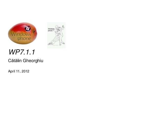 WP7.1.1 Cătălin Gheorghiu April 11, 2012