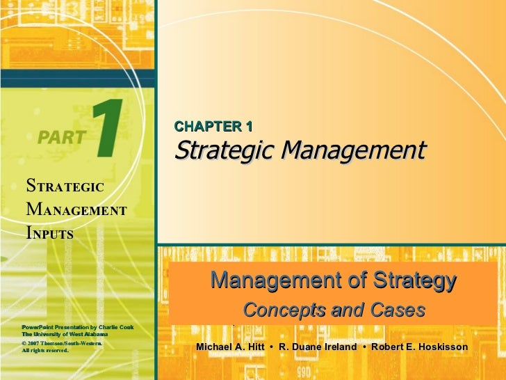 CHAPTER 1                                          Strategic Management STRATEGIC MANAGEMENT INPUTS                       ...