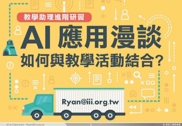 AI in Classroom – Ryan@iii.org.tw Ryan@iii.org.tw 1
