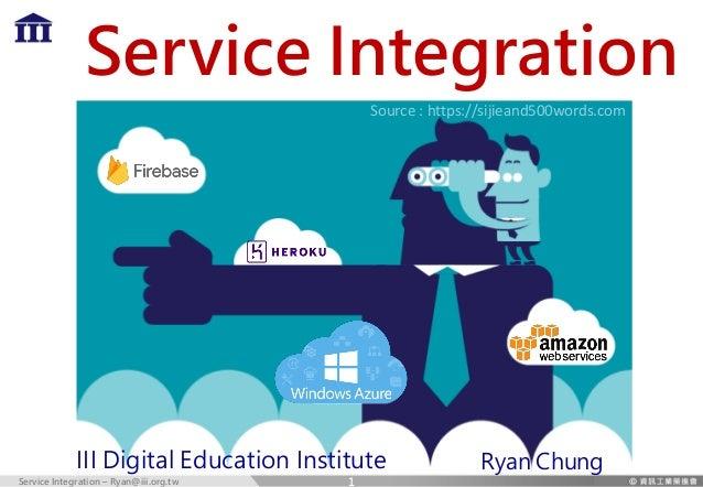 Service Integration – Ryan@iii.org.tw Service Integration III Digital Education Institute Source : https://sijieand500word...