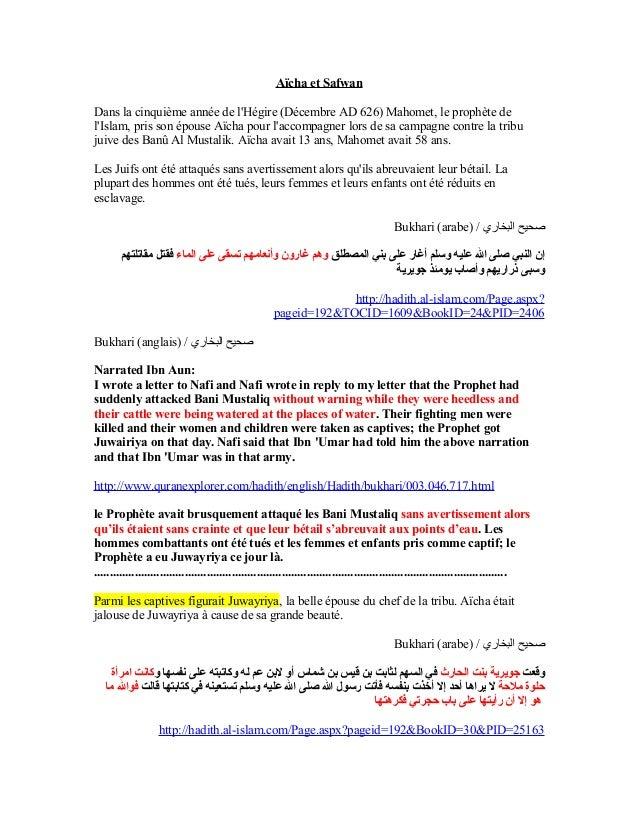 Aïcha et SafwanDans la cinquième année de lHégire (Décembre AD 626) Mahomet, le prophète delIslam, pris son épouse Aïcha p...
