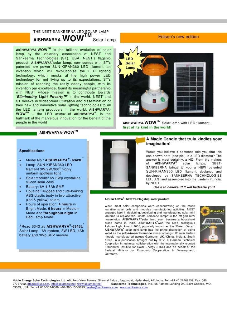 THE NEST-SANKEERNA LED SOLAR LAMP                AISHWARYA-           WOWTM Solar Lamp                                    ...