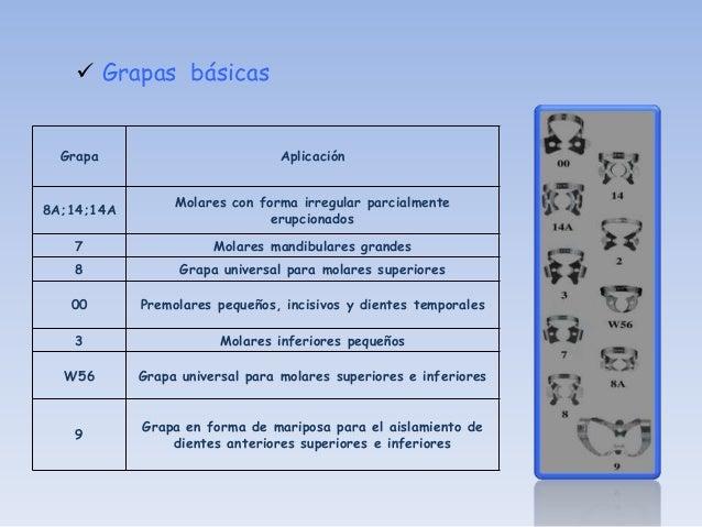  Grapas especiales      Grapa                             Aplicación                        Preparación y cementación de ...