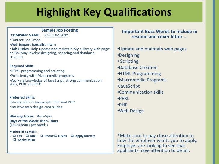 sample resume key qualifications
