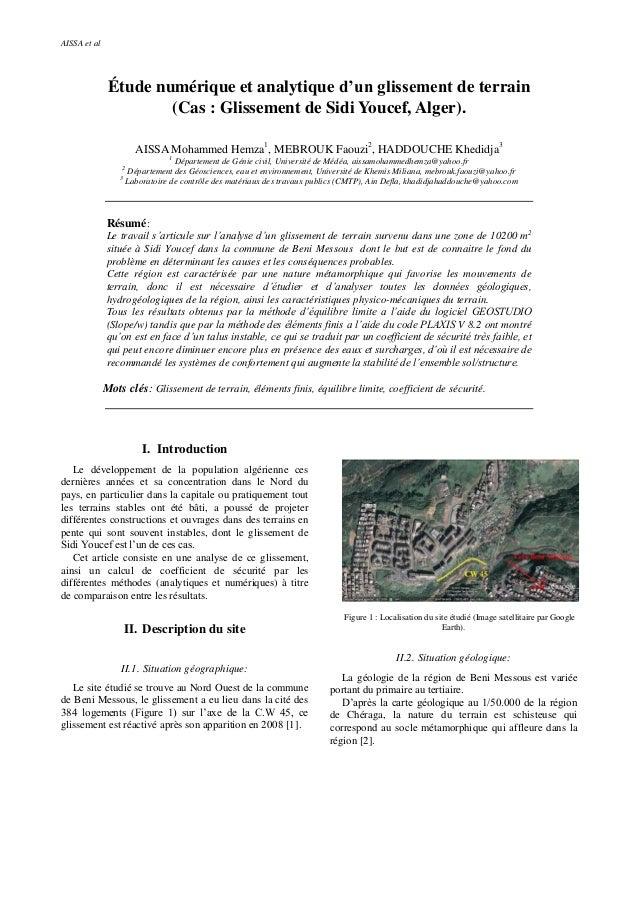 AISSA et al               Étude numérique et analytique d'un glissement de terrain                       (Cas : Glissement...