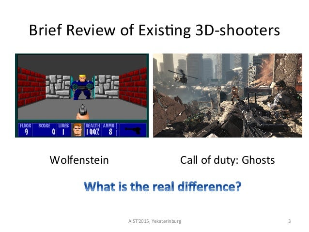 Brief  Review  of  Exis<ng  3D-‐shooters     AIST'2015,  Yekaterinburg   3   Wolfenstein   Call  of...
