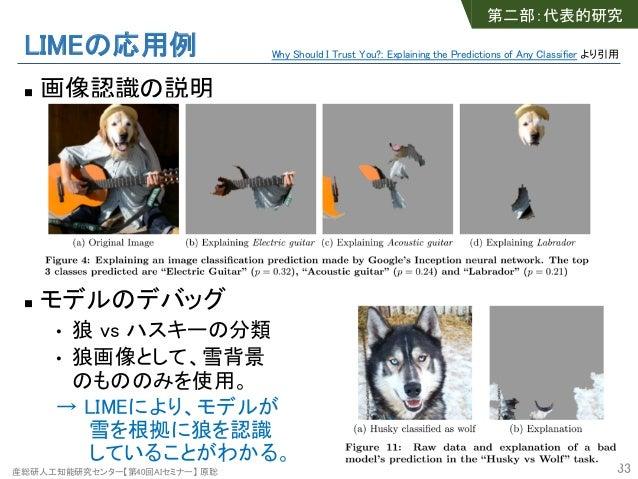 産総研人工知能研究センター【第40回AIセミナー】 原聡 LIMEの応用例 n 画像認識の説明 n モデルのデバッグ • 狼 vs ハスキーの分類 • 狼画像として、雪背景 のもののみを使用。 → LIMEにより、モデルが 雪を根拠に狼を認識 ...