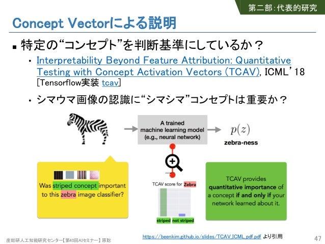 """産総研人工知能研究センター【第40回AIセミナー】 原聡 Concept Vectorによる説明 n 特定の""""コンセプト""""を判断基準にしているか? • Interpretability Beyond Feature Attribution: Q..."""