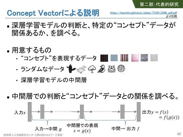 """産総研人工知能研究センター【第40回AIセミナー】 原聡 Concept Vectorによる説明 n 深層学習モデルの判断と、特定の""""コンセプト""""データが 関係あるか、を調べる。 n 用意するもの • """"コンセプト""""を表現するデータ • ランダ..."""
