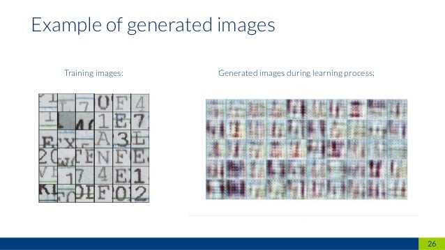 26 Example of generated images Training images: Generated images during learning process: