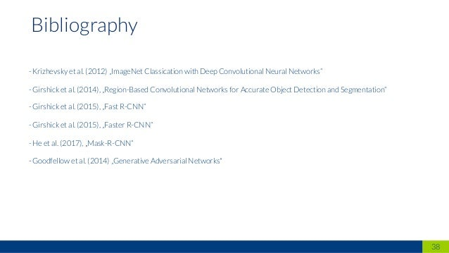 "38 Bibliography - Krizhevsky et al. (2012) ""ImageNet Classication with Deep Convolutional Neural Networks"" - Girshick et a..."