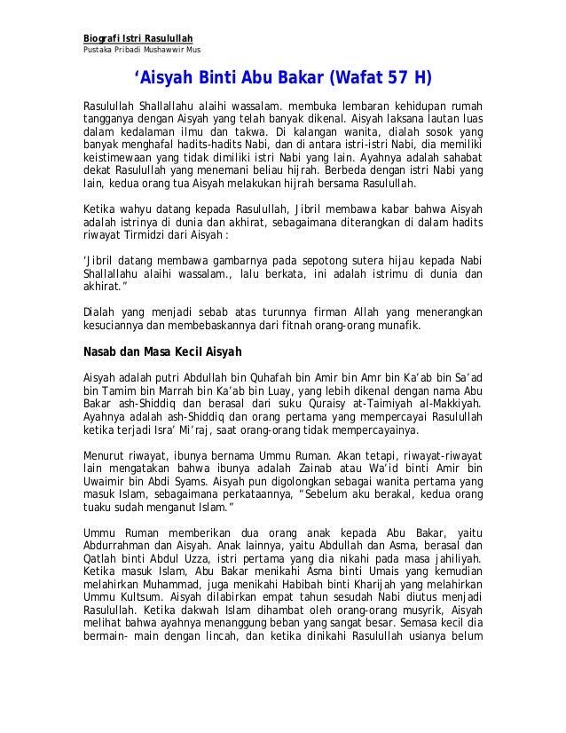 Biografi Istri RasulullahPustaka Pribadi Mushawwir Mus'Aisyah Binti Abu Bakar (Wafat 57 H)Rasulullah Shallallahu alaihi wa...