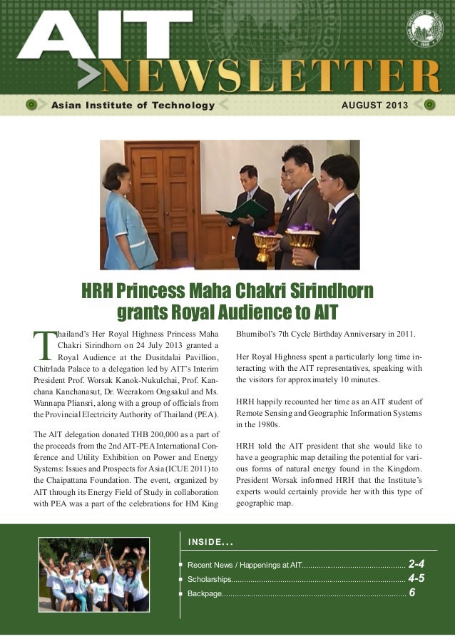 1AUGUST 2013 Asian Institute of Technology AUGUST 2013 INSIDE ISSUE.. . Recent News / Happenings at AIT......................