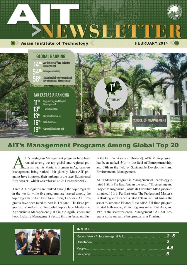 1  FEBRUARY 2014  Asian Institute of Technology    FEBRUARY 2014  GLOBAL RANKING  14th 54th 58th  Agribusiness/Food Indus...