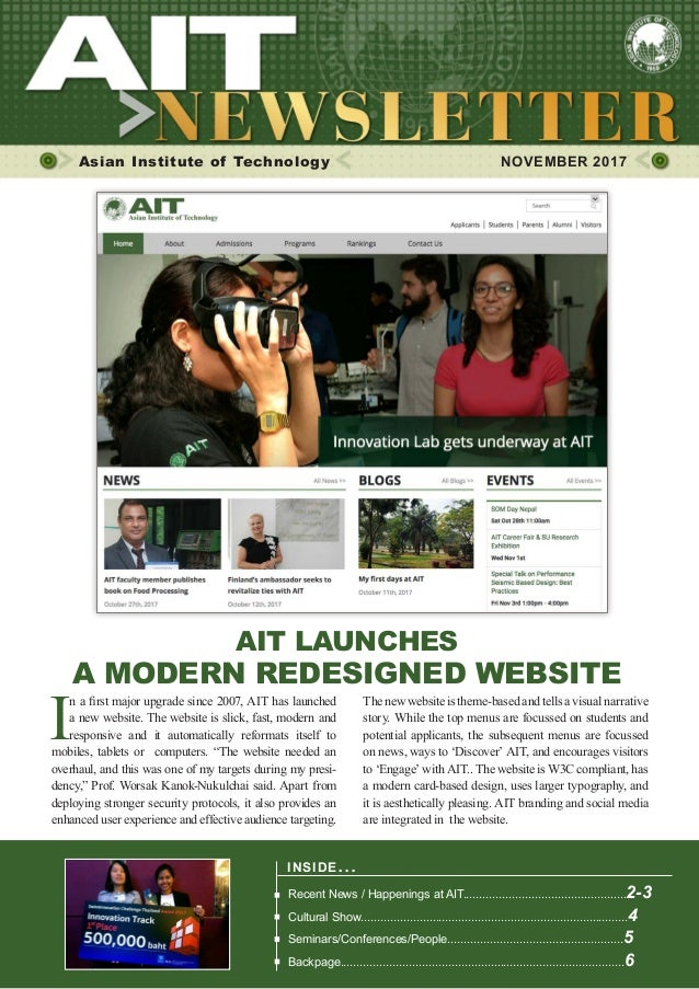 1NOVEMBER 2017 Asian Institute of Technology 	 NOVEMBER 2017 INSIDE ISSUE.. . Recent News / Happenings at AIT................
