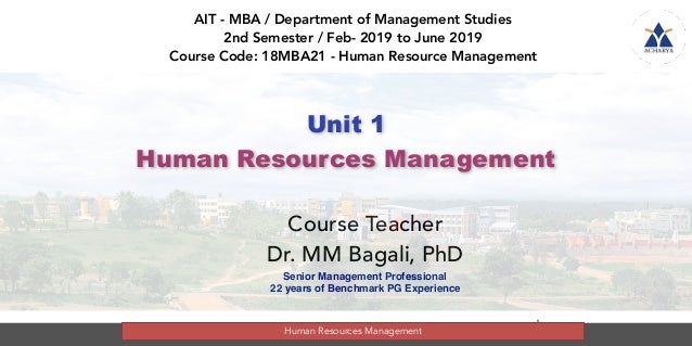 mm bagali / HRM course / 2nd semester    module     1 / 2019