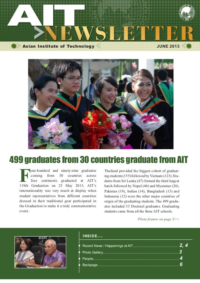 1JUNE 2013Asian Institute of Technology JUNE 2013INSIDE ISSUE.. .Recent News / Happenings at AIT.............................