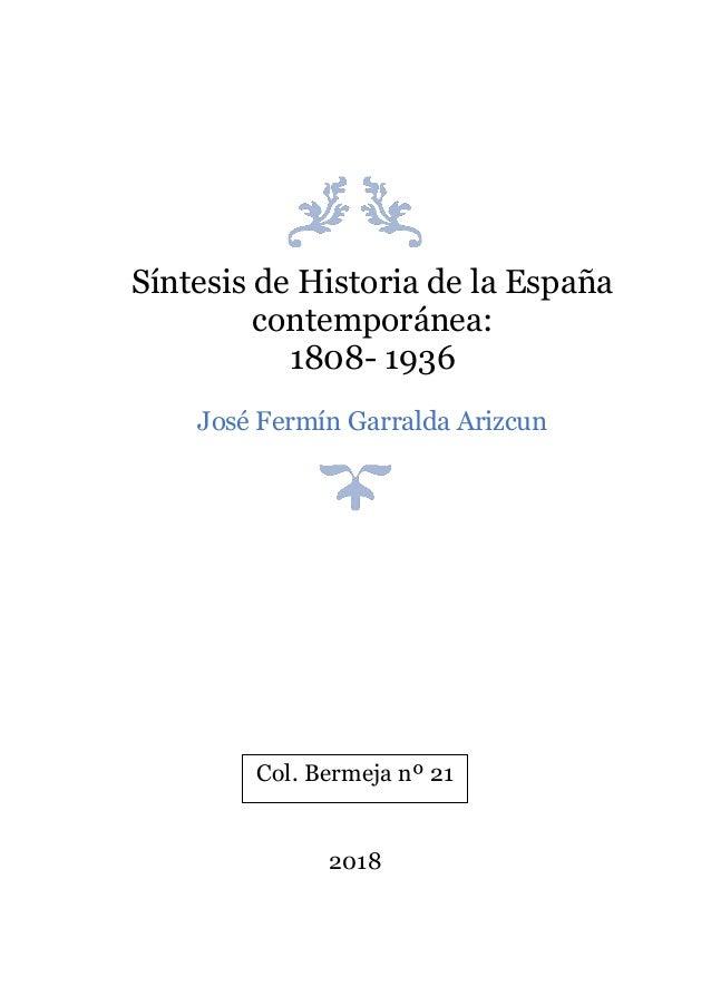 Síntesis de Historia de la España contemporánea: 1808-1936
