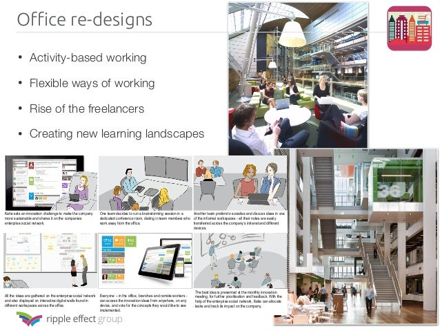 Office re-designs • Activity-based working • Flexible ways of working • Rise of the freelancers • Creating new learning la...